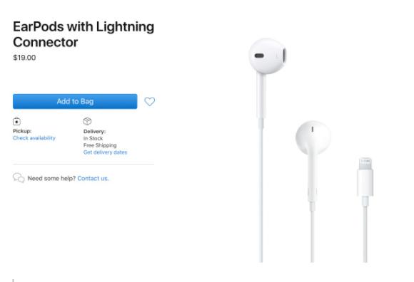 苹果将EarPods及其iPhone电源适配器的价格下调了10美元