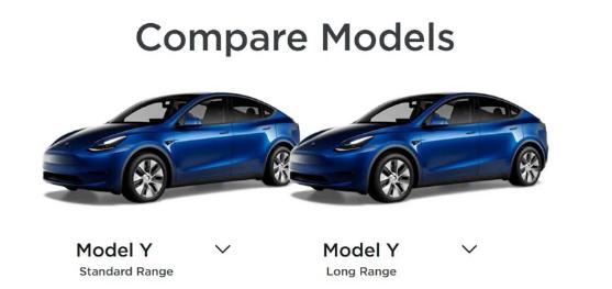 特斯拉Model Y标准范围与Model Y远程和其他EV的比较