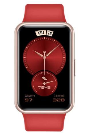 这是华为Watch Fit的新年版以时尚的红色为主题