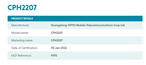 OPPO Reno5 Pro+5G智能手机全球发布即将在GCF数据库中出现
