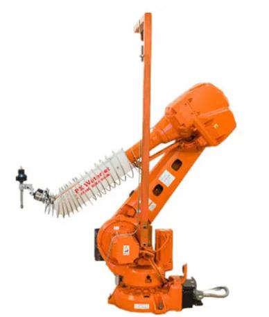 PX水刀机器人工作站是一款三维切割机由六轴机器人系统和超高压水增压系统组成